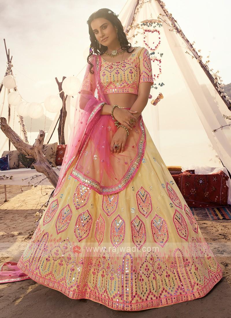 Amazing Light Yellow & Pink Lehenga Choli