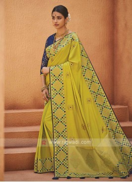 Amazing Lime Color Satin Silk Saree