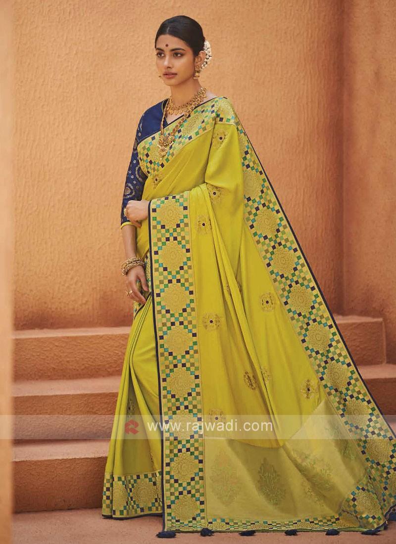Amazing Lime Color Satin Silk Saree