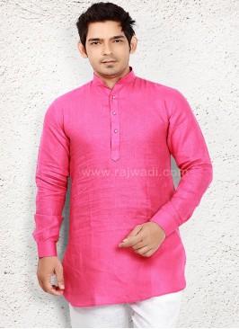 Amazing Linen fabric Pink Kurta
