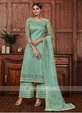 Amazing net dress material in sea green color