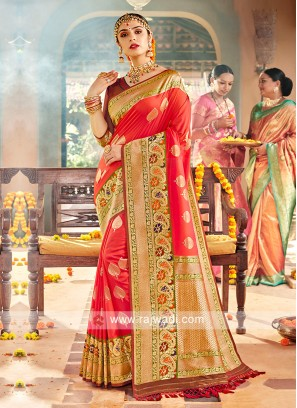 Amazing Tomato Red Color Classic Saree