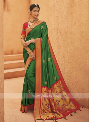 Amazing Satin Silk Green Color Saree