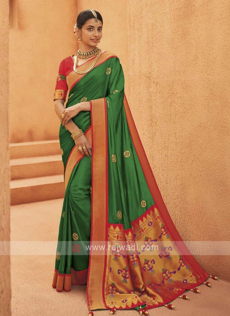 Amazing Satin Silk Green Color Saree