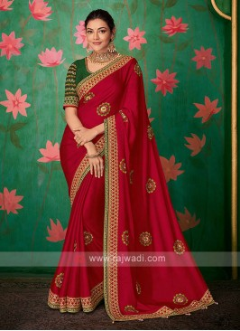 Amazing Satin Silk Red Color Saree