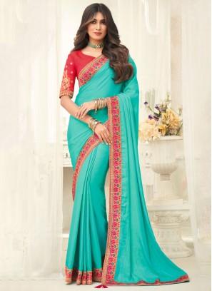 Amazing Silk Aqua Blue Embroidered Designer Saree