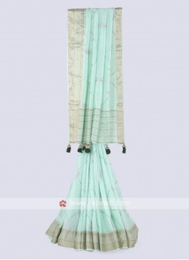 Amazing silk saree in sea green color