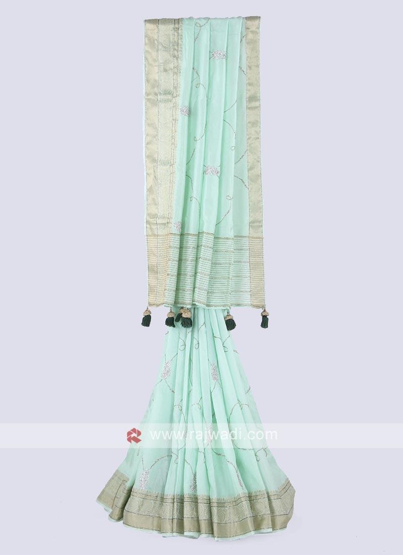 Amazing silk saree in sea green color