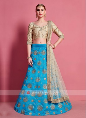 Sky Blue & Beige Color Lehenga Choli