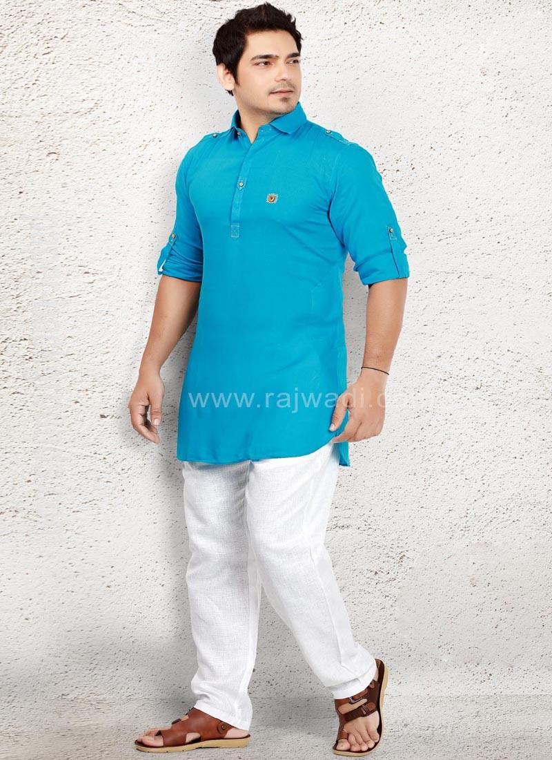 Amazing Sky Blue Pathani Suit
