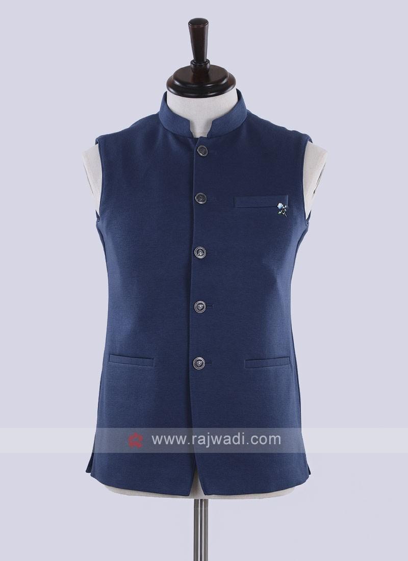 amazing solid blue cotton nehru jacket