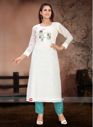 Amazing White & Light Blue Color Kurta Set