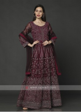 Amazing Wine Color Anarkali Suit With Dupatta