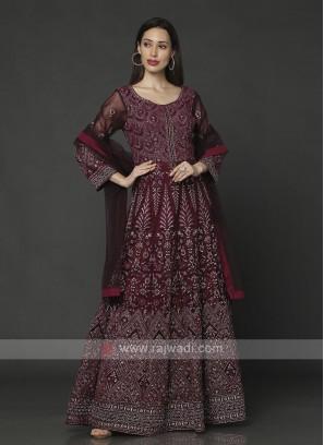 Amazing Wine Color Anarkali Suit With Dupatta