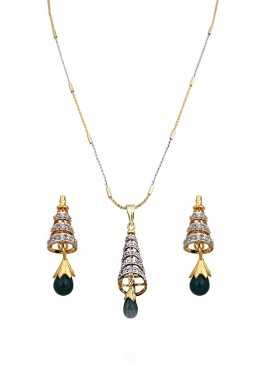 American Diamond Conical Pendant Set With Green Drop