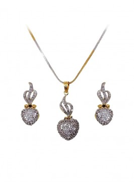 American Diamond Heart Shape Pendant Set