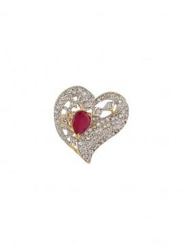 American Diamond Oval Cut Heart Ring