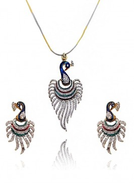 American Diamond Peacock Pendant Set