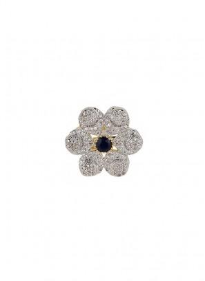 American Diamond Star Round Blue Stone Ring