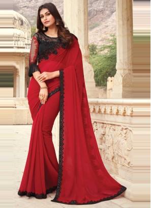 Amusing Red Ceremonial Designer Traditional Saree