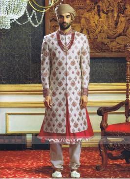 Anarkali Style Cream Color Sherwani