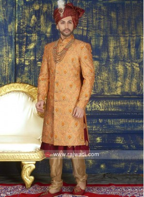 Anarkali Style Groom Sherwani