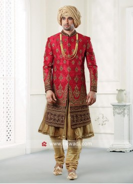 Anarkali Style Raw Silk Sherwani
