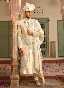 Anarkali Style Sherwani In Cream Color