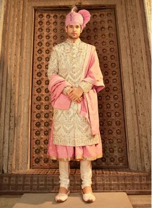 Groom Sherwani In Cream Color