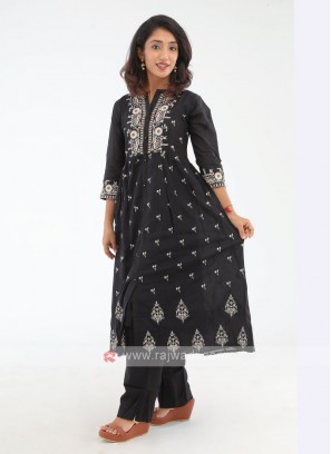 Anarkali Style Thread Work Black Kurti Set