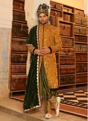 Anarkali Style Wedding Sherwani For Groom