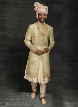 Anarkali Style Wedding Sherwani In Groom