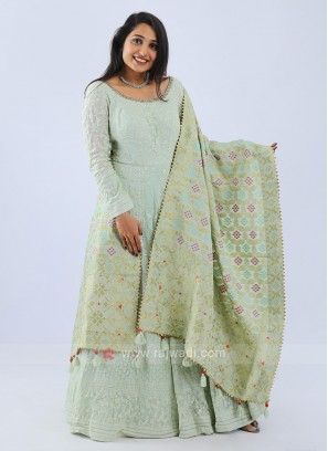 Anarkali Suit In Pista Green
