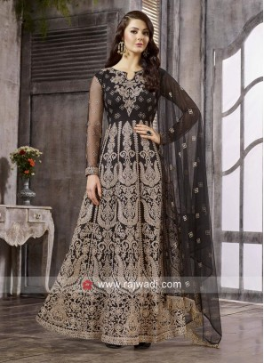 Black Heavy Embroidered Anarkali Dress Material
