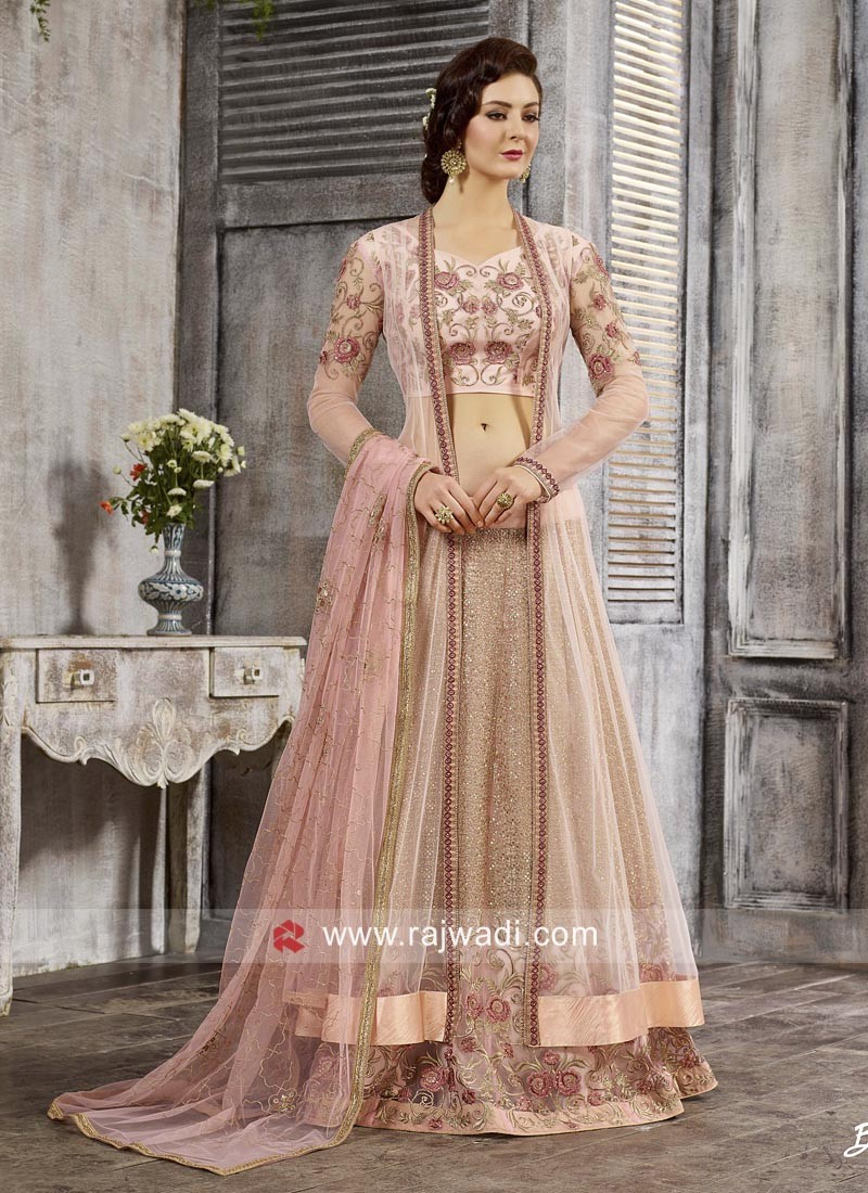 Peach Heavy Embroidered Anarkali Dress