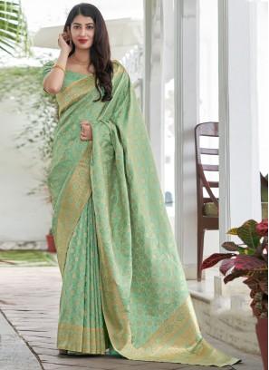 Angelic Woven Satin Silk Traditional Saree