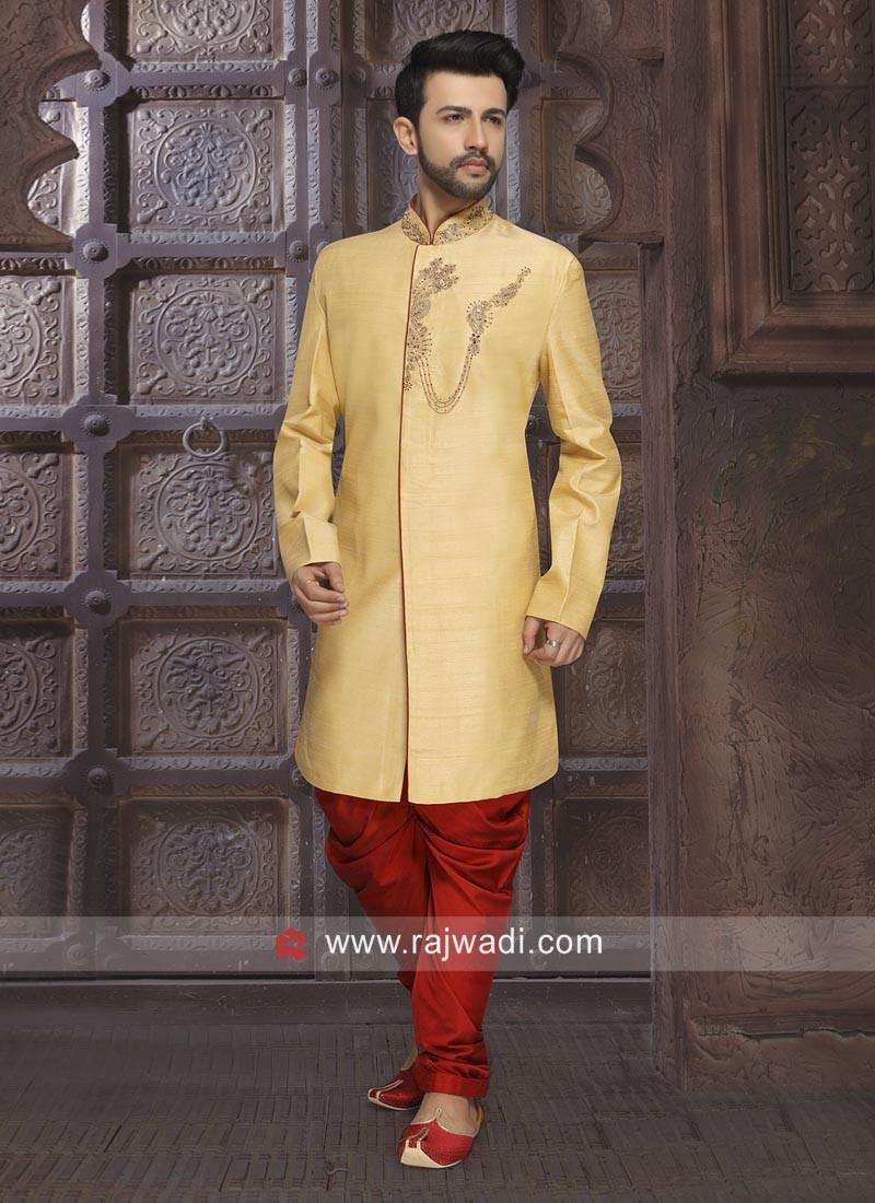 Golden Color Art Silk Indo Western