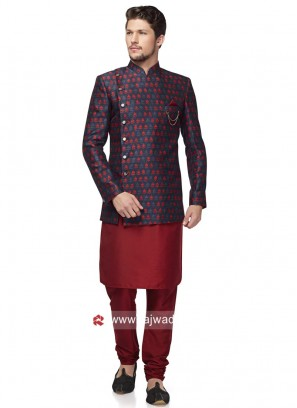 Blue and Maroon Wedding Indo Western