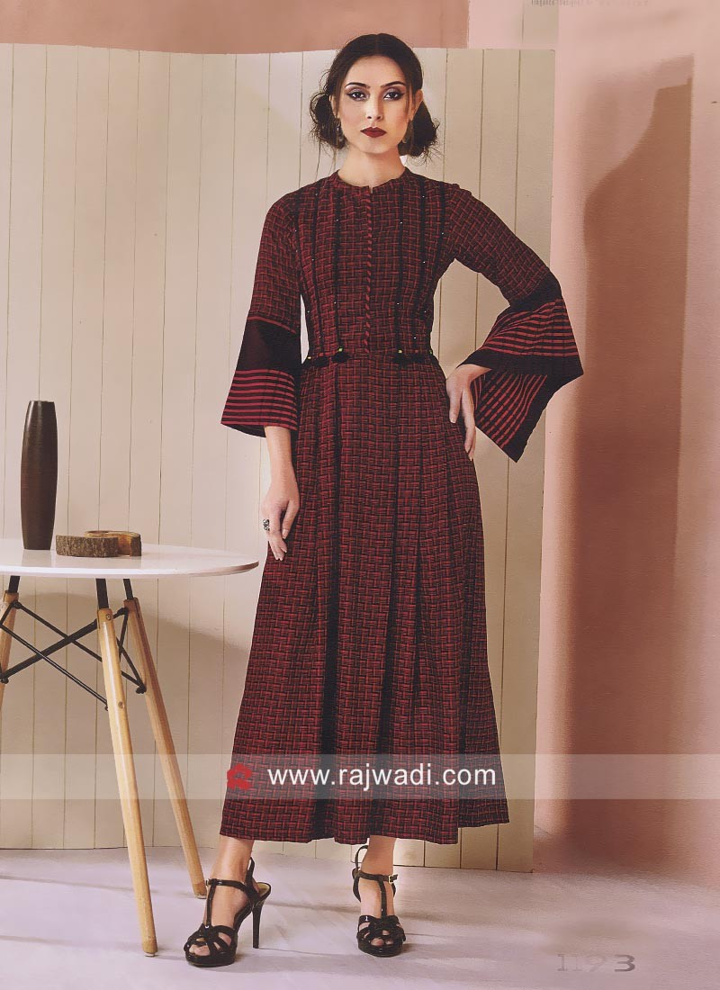 Ankle Length Gown Style Cotton Kurti