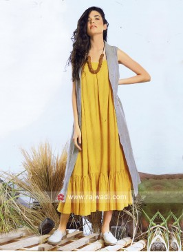 Ankle Length Mustard Yellow Kurti with Long Koti