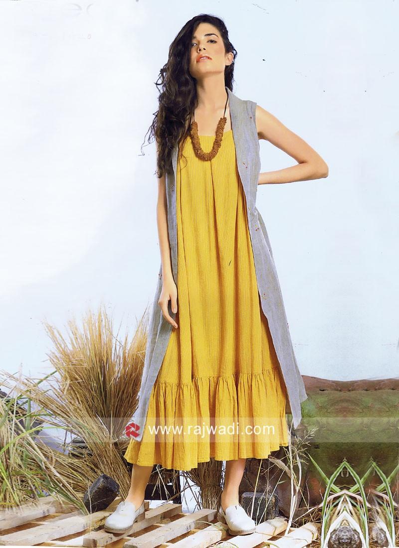 Ankle Length Mustard Yellow Kurti with Long Koti