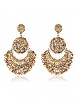 Antique Gold Chandbali Earrings