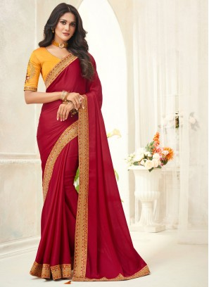 Appealing Red Ceremonial Trendy Saree