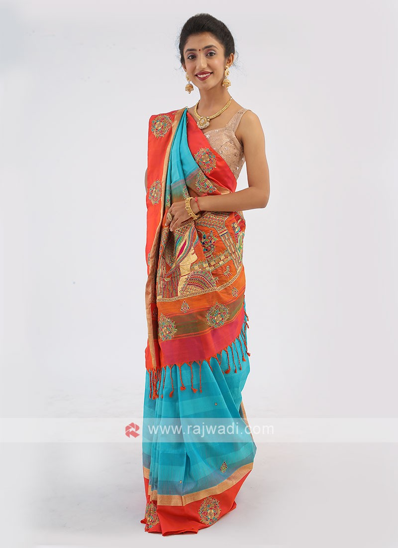 Aqua And Orange Color Silk Saree