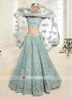 aqua blue color net lehenga choli