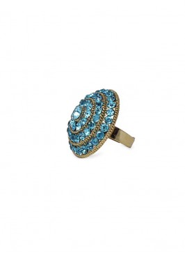 Aqua Blue Crystal Ring