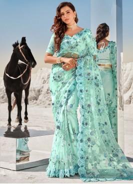 Aqua Blue Net Classic Saree