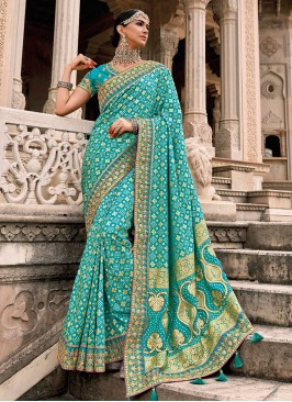 Aqua Blue Patch Border Wedding Designer Saree