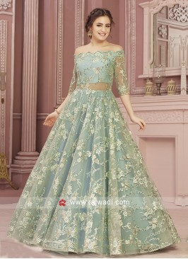 Aqua Color Net Gown
