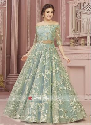 Aqua Color Net Gown